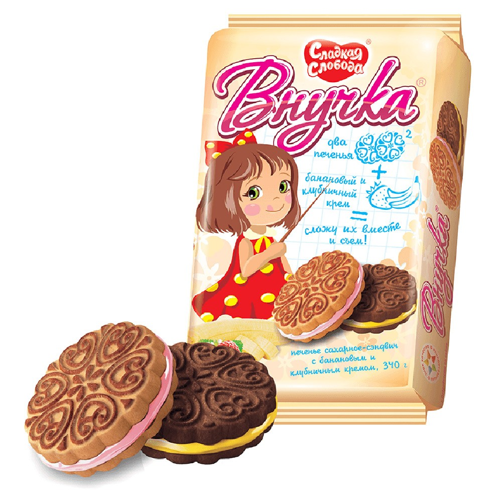 """Vnuchka"" Cookies Assortment Banana & Strawberry, 12.35 oz/ 350 g"